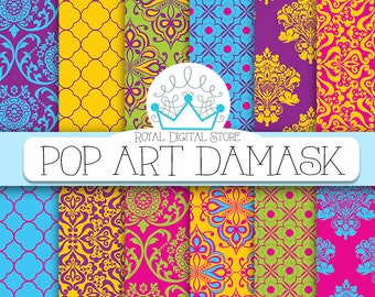 "Damask digital paper: "" Pop Art Damask"" with damask background, instant download, scrapbook paper, background digital paper for cards"