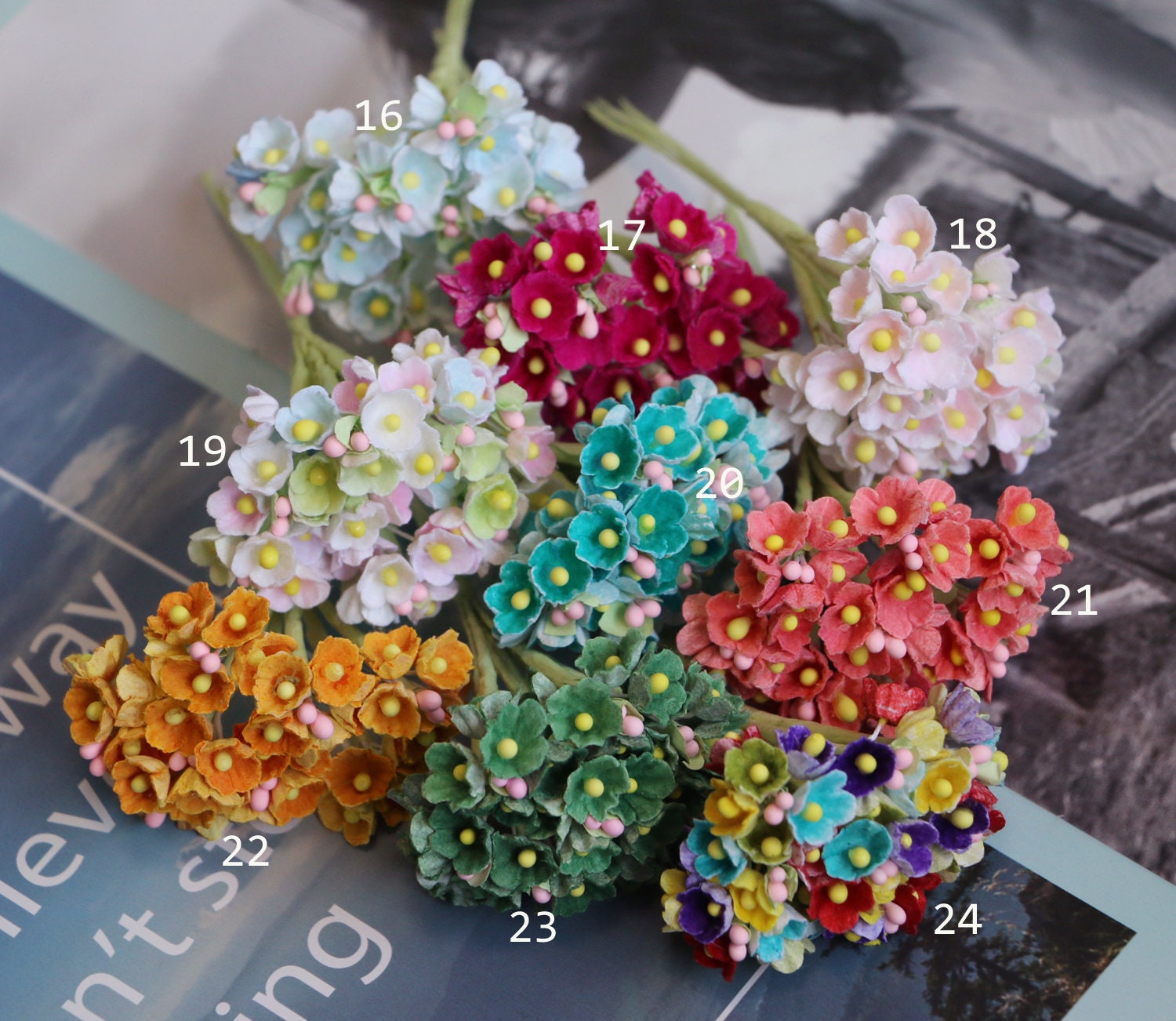 Bunch Of 8 Stems Forget Me Nots Mini Millinery Scrapbooking Tiny
