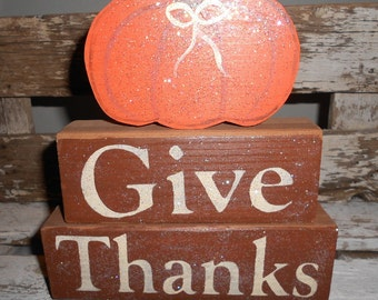 Give Thanks Wood Glitter Blocks Shelf Sitter Blocks Orange Pumpkin Blocks Brown Thanksgiving Decoration Wood Personalized Glitter Blocks