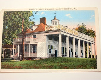 Washington's Mansion, Mount Vernon, Virginia Postcard  / Mount Vernon Postcard / Mount Vernon Souvenir