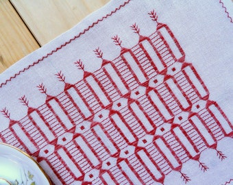 White red doily Linen serving napkin Swedish handmade vintage geometric embroidery needlework Table topper fancywork  square centerpiece
