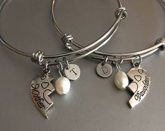 Mother Daughter Bangle Bracelets. Matching bracelet set. Mother Daughter Charm Bracelet. Mothers Day Gift. Mothers Day Jewelry