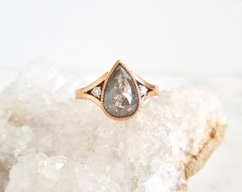 Bezel Pear Diamond Ring, Gray Pear Diamond Ring, Salt & Pepper Diamond Ring, Split Shank Rose Gold,Three Diamond Ring, Pear Rose Cut Diamond