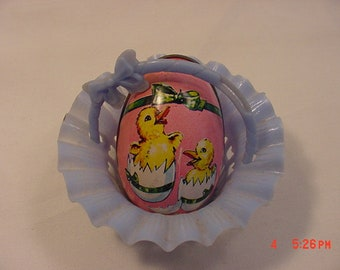 Vintage Blue Plastic Individual Candy Basket & Pink Metal Chicks Easter Egg Candy Container  18 - 824