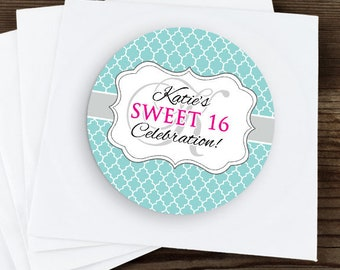 Sweet 16 Birthday Stickers, Custom Birthday Labels - Round Sweet 16 labels - Birthday Stickers - Birthday Candy Stickers - Monogram Stickers