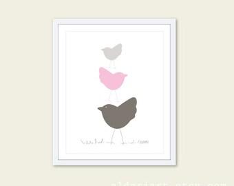 Nursery Birds Wall Art Print Three Birds in Pink Nursery Art Print- Baby Girl art gift
