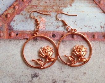 Earrings with roses. ' Rose gold '. Earrings.
