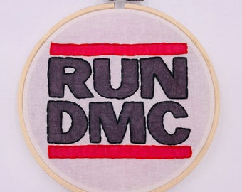5 inch RUN DMC logo hand sewn embroidery hoop wall hanging home decor art piece