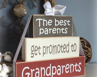 "Great Grandparents Wood Block Stack: ""The Best Grandparents Get Promoted to Great-Grandparents"" - Pregnancy announcement"