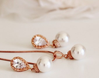 Rose Gold Wedding Jewelry Rose Gold Bridesmaid Gift Rose Gold Earrings and Necklace Set Pearl Bridal Jewelry Set Bridesmaid Jewelry Set
