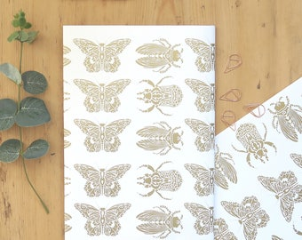 Bee gift wrap, Butterfly gift wrap, Birthday gift wrap, Bee wrapping paper, Entomology gift wrap, Gold foil wrapping paper, Beetle wrap