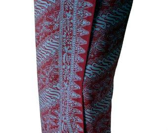 Beach Sarong Men's or Women's Clothing Batik Pareo Wrap - Burgundy & Gray Batik Sarong - Tribal Vibe Lavalava - Maroon Sarong Cover Up