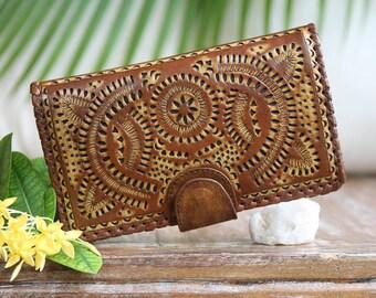 Leather wallet / Boho Wallet / women's leather wallet / leather purse / leather clutch /Organizer wallet