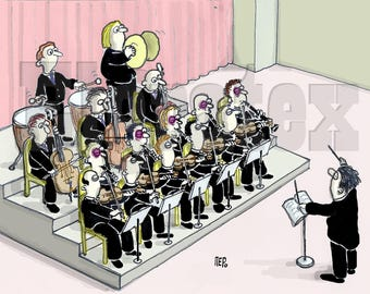 """Color Hand-Drawn Downloadable Cartoon, Funny Digital Comic, Cartoons, humor art gift - """"Don't sit next to the violinists"""""""