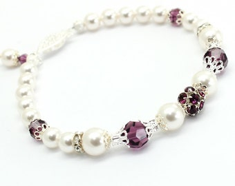Pearl Bracelet, Eggplant Purple Amethyst, Swarovski Element, Silver Filigree Bridal Victorian Style Wedding Jewelry