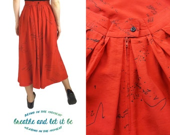 sale 80s High Waisted Red Calligrapy Pattern Print Skirt  Size Small Midi Skirt with Pockets Pleated Skirt Ink Splash Skirt