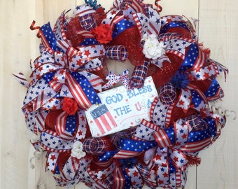 Patriotic Wreath Bless USA Wreath deco mesh Fourth of July Memorial Day Red White Blue Patriotic wired ribbon DecoExchange