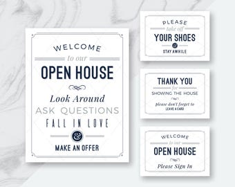 BEST DEAL! Real Estate Welcome to Our Open House Signs, Welcome to Open House & Please Sign In Sign, Please Remove Your Shoes Signs, 24 PDFs