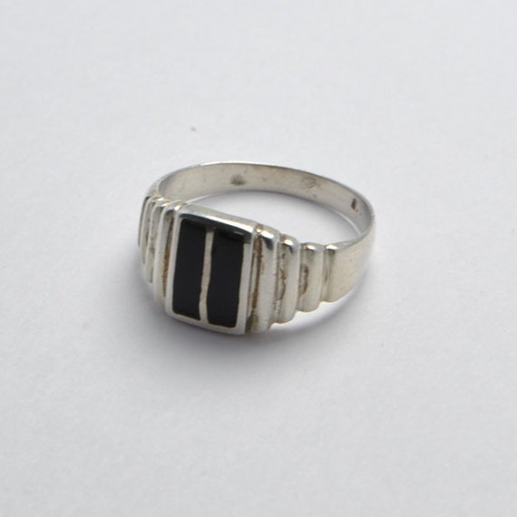 Onyx ring - Vintage ring - sterling silver - ethnic ring - vintage jewelry - onyx stone - iroquoise