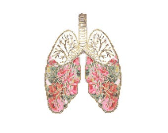 Floral Anatomical Lungs Cross Stitch Pattern cross stitch Floral Lungs Science geeky cross stitch floral cross stitch pattern