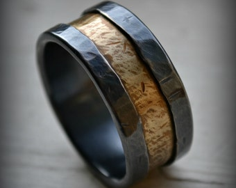 Mens wedding band, rustic fine silver and brass ring, handmade oxidized artisan designed wedding band - custom ring - custom hand stamping