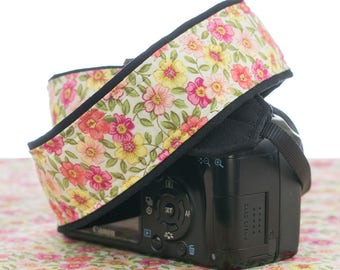 Camera Strap, dSLR, Floral Pink, Coral, Yellow, Canon or Nikon Replacement Strap, Camera Neck Strap,SLR, Photography, 017