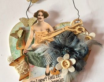 Handmade vintage style collage art piece for yor wall