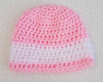 Handmade Pink With White Stripe Baby Crochet Hat / Beanie - Sizes Preemie Up To 24 Months