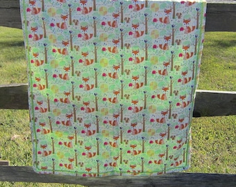 Handcrafted Forest Fox Cotton Baby Blanket w/mint green minky back