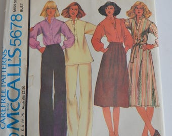 "Vintage 1970s Sewing Pattern, McCall's 5678, Misses' Dress or Top, Skirt and Pants, 34"" bust; 26.5"" waist"