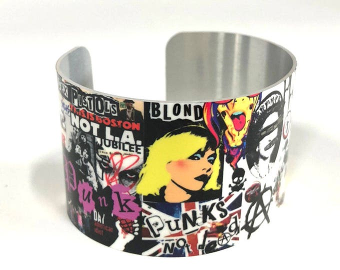 Cuff Bracelet-Punk-80's-rock-music-Cuff-Aluminum-Jewelry-Customizable-Sublimation-gift for friends