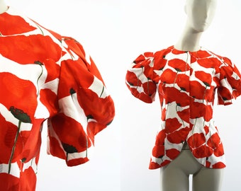 Vintage Silk Raul Blanco Red and White Floral Print Short Pouf Sleeve Tailored Woman's Retro Lightweight Blazer / Jacket