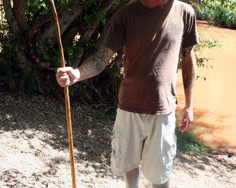 Natural Walking Stick, Natural Hiking Stick, Wooden Staff, Desert Spoon Light Brown with Decorative Rings, Small, Outdoor Sport
