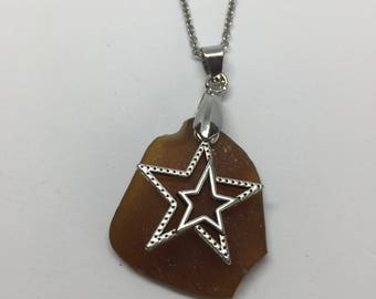 Brown Sea Glass Necklace with Star Pendant