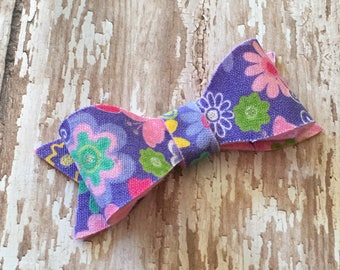 Purple Floral Butterfly Spring Fabric Hair Bow Clip Babies, Toddlers, Girls