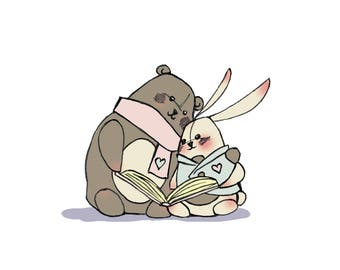 Archival Print: Reading Bear & Bunny - nursery art - children's art