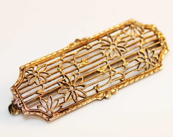 Lovely Art Deco Sterling Silver Gold Vermeil Filligree Openwork Pin Brooch-Antique Estate Jewelry!