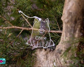 Pig Christmas Ornament - Personalized Pig Christmas Ornament - Pig Ornament - Farm Ornament - Personalzied Ornament - Christmas Ornament