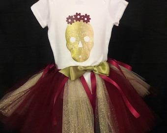Skull baby girl tutu and headband