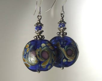 Lampwork Glass Blue Lentil Earrings, Dangle Earrings, Lampwork Jewelry, Gift for Her