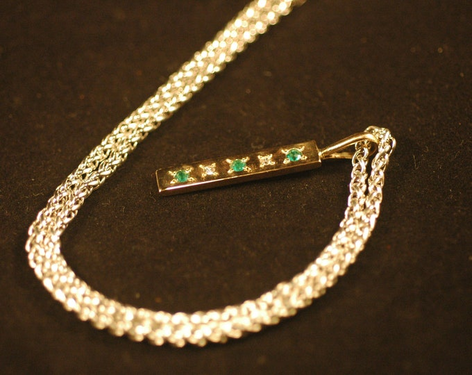 Diamond Emerald Gold Necklace-Solid 14 Karat Gold Emerald and Diamond Stone Pendant and Sterling Silver Chain by Michael Ferreira on Etsy