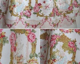 Alice in Wonderland Corset Skirt with Satin Ribbon, Boning, Rose Lace, Sweet Lolita