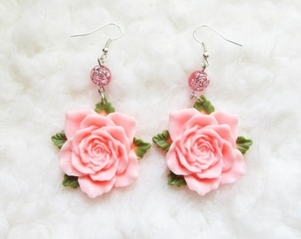 Pink Rose Earrings / Pink Flower Earrings / Pretty Earrings / Big Flower Earrings / Big Rose Earrings / Pink