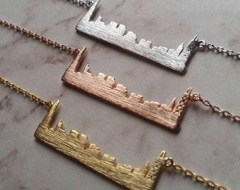 Silver Chicago Skyline Necklace