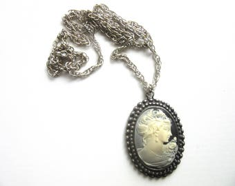 Large Cameo Pendant Necklace Long Silvertone Rope Chain 33 - 35 Inches
