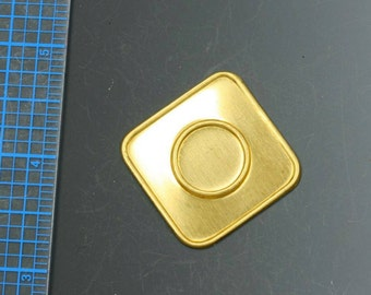"""Vintage brass stamping: 1 1/4"""" square. Packs of three. Loads of possibilities! Beadwork, Jewelry making, Jewelry supply."""