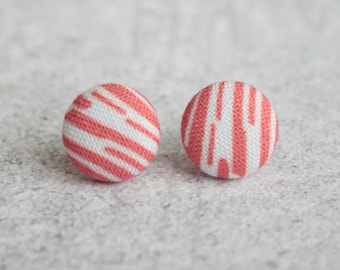 Bacon Fabric Button Earrings