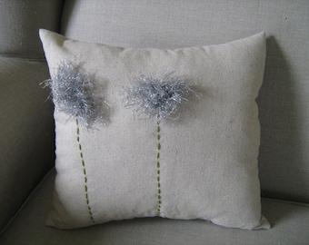 Silver Fuzzy Dandelion Pillow