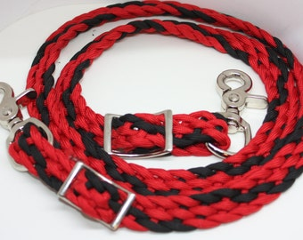 pony reins,  red and black pony reins, pony tack, paracord reins, shetland pony, paracord horse tack, reins