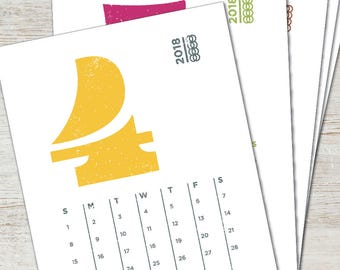 EAMES Printable Desk Calendar 2018 2019 Digital Instant Download Typography Numerals Numbers Modern PDF Monthly Yearly Planner Stationery